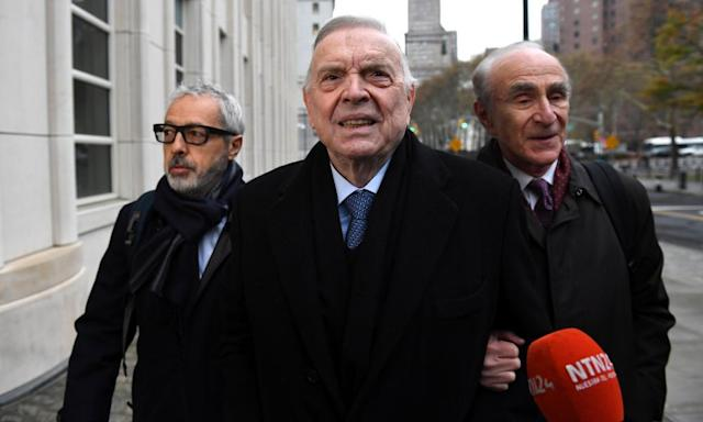 "<span class=""element-image__caption"">José María Marín (centre) arrives for opening arguments at the Fifa bribery trial in Brooklyn on Monday. </span> <span class=""element-image__credit"">Photograph: Darren Ornitz/Reuters</span>"