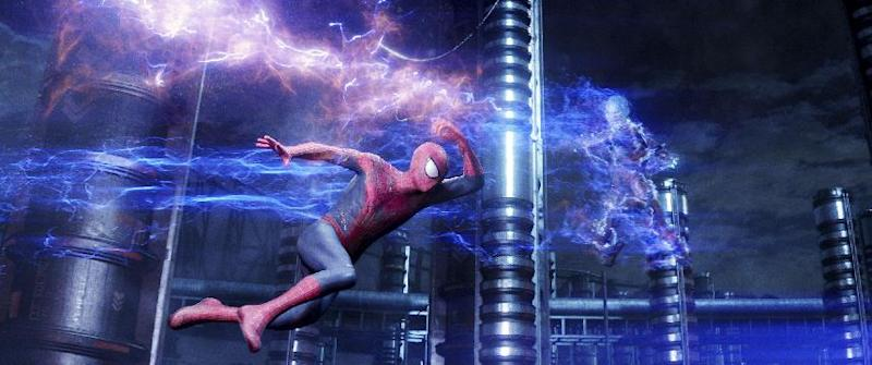 "This photo provided by Sony Pictures shows Andrew Garfield, as Spider-Man, left, and Jamie Foxx as Electro in Columbia Pictures' ""The Amazing Spider-Man 2."" Sony Pictures debuted 30 minutes of 3-D footage of ""The Amazing Spider-Man 2"" at the movie-theater convention, CinemaCon, in Las Vegas on Wednesday night, March 26, 2014. (AP Photo/Sony Pictures)"