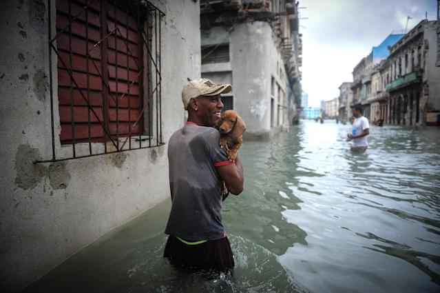 <p>A Cuban carrying his pet wades through a flooded street in Havana, on Sept. 10, 2017.<br> Deadly Hurricane Irma battered central Cuba on Saturday, knocking down power lines, uprooting trees and ripping the roofs off homes as it headed towards Florida. Authorities said they had evacuated more than a million people as a precaution, including about 4,000 in the capital.<br> (Photo: Yamil Lage/AFP/Getty Images) </p>
