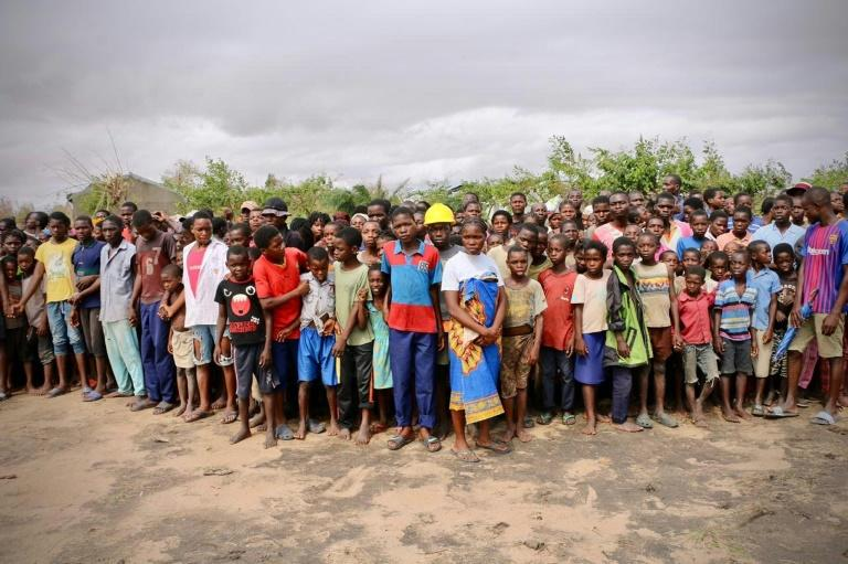 Survivors of the cyclone gather to wait for relief aid at Buzi in Mozambique