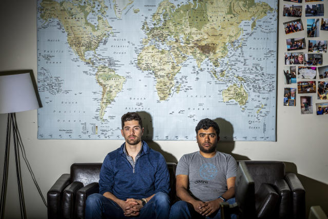 Alex Modon, left, and Vikram Tiwari, co-founders of Omni Labs, Inc., in San Francisco on April 13, 2018. (Photo: Eric Kayne for Yahoo News)