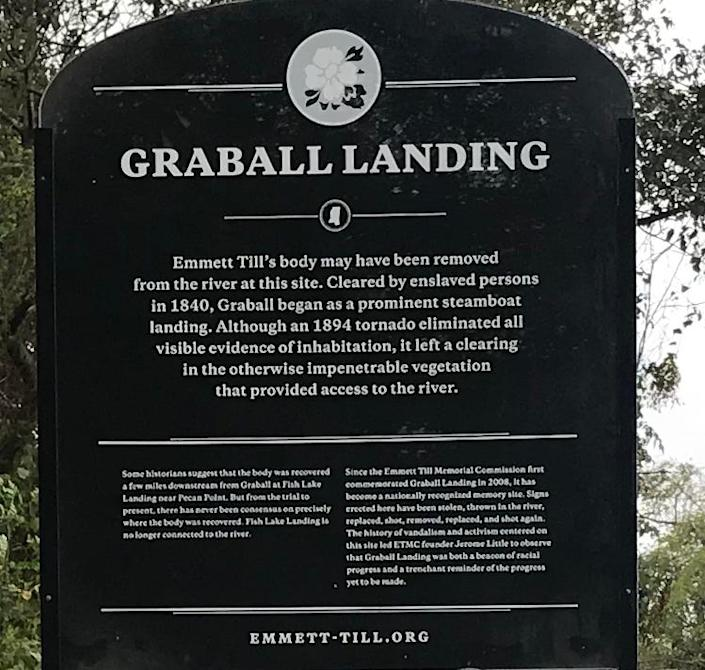 A 500-pound, bulletproof sign was unveiled Saturday at the site where civil rights icon Emmett Till was pulled from the Tallahatchie River.