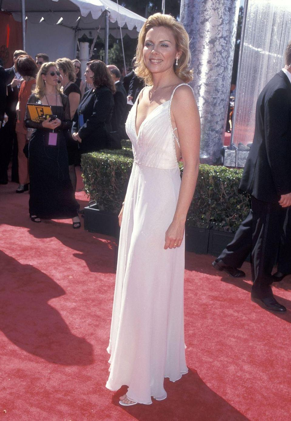 <p>Cattrall wore this white dress to the Emmy Awards in 1999.</p>