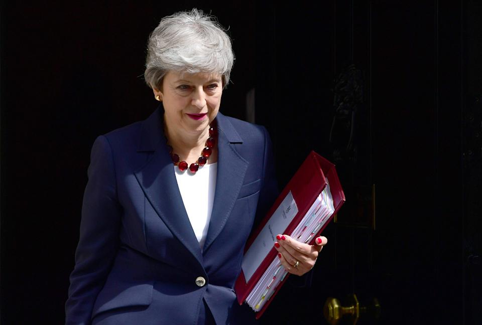LONDON, ENGLAND - JULY 17: Prime Minister, Theresa May leaves number 10 for PMQs at Downing Street on July 17, 2019 in London, England. Today will be the Prime Minister's penultimate PMQs and the start of her final week at Number 10. (Photo by Chris J Ratcliffe/Getty Images)