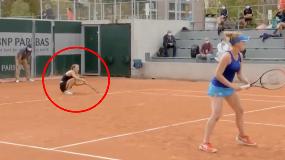 Yana Sizikova is pictured stumbling during the service game that attracted the attention of French prosecutors.