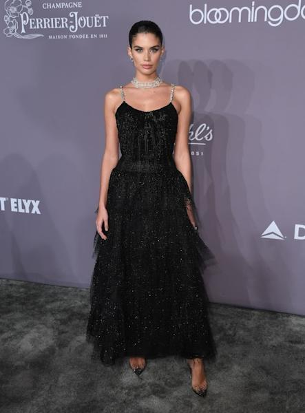 Sara Sampaio stepped out in an enchanting Armani Privé gown with subtle shimmer. New York, February 7, 2018