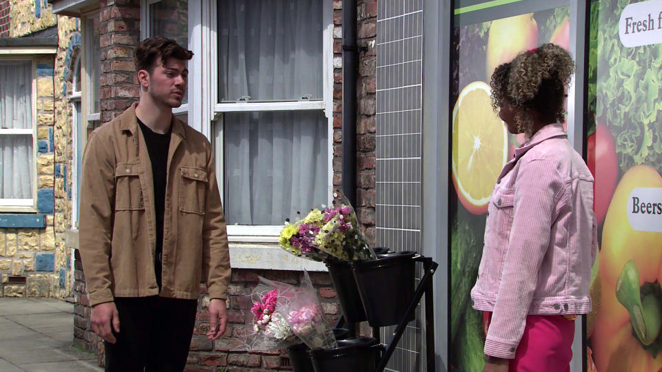 FROM ITV  STRICT EMBARGO - No Use Before Tuesday 6th July 2021  Coronation Street - Ep 10374  Monday 12th July 2021 - 1st Ep  Curtis tells Emma Brooker [ALEXANDRA MARDELL] about his plan to organise a charity naked calendar to help Steve reach his target of £100k.    Picture contact David.crook@itv.com   This photograph is (C) ITV Plc and can only be reproduced for editorial purposes directly in connection with the programme or event mentioned above, or ITV plc. Once made available by ITV plc Picture Desk, this photograph can be reproduced once only up until the transmission [TX] date and no reproduction fee will be charged. Any subsequent usage may incur a fee. This photograph must not be manipulated [excluding basic cropping] in a manner which alters the visual appearance of the person photographed deemed detrimental or inappropriate by ITV plc Picture Desk. This photograph must not be syndicated to any other company, publication or website, or permanently archived, without the express written permission of ITV Picture Desk. Full Terms and conditions are available on  www.itv.com/presscentre/itvpictures/terms