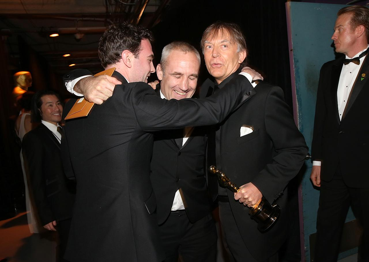 (L-R) Sound engineers Simon Hayes, Andy Nelson and Mark Paterson , winners of the Best Sound Mixing award for 'Les Miserables,'  backstage during the Oscars held at the Dolby Theatre on February 24, 2013 in Hollywood, California.