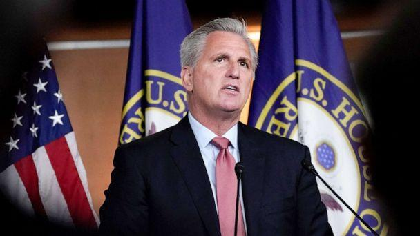 PHOTO: Minority Leader Kevin McCarthy listens to questions as he holds a news conference at the U.S. Capitol in Washington, D.C., July 22, 2021. (Elizabeth Frantz/Reuters)