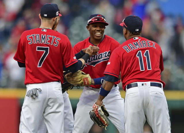 Cleveland Indians' Greg Allen, center, is congratulated by Eric Stamets and Jose Ramirez after defeating the Toronto Blue Jays in a baseball game, Saturday, April 6, 2019, in Cleveland. (AP Photo/David Dermer)