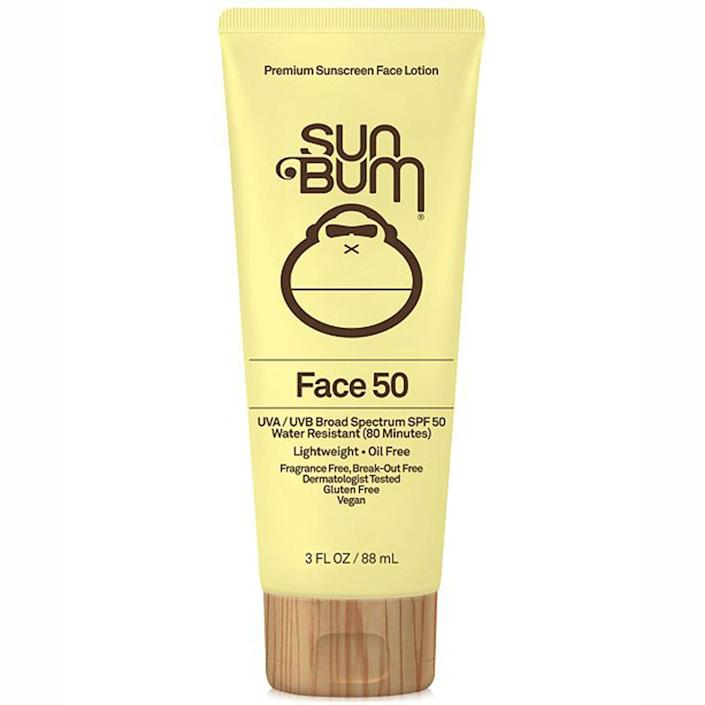 """<p>The oil-free Sun Bum Face Lotion SPF 50 offers more than just a cute bottle: It also serves serious SPF 50 protection that meets the Skin Cancer Foundation's strict standards. This formula takes a little while to be fully absorbed, but once it is, it leaves skin feeling soft <em>and</em> protected.</p> <p>$13 (<a href=""""https://shop-links.co/1635176642488092654"""" rel=""""nofollow noopener"""" target=""""_blank"""" data-ylk=""""slk:Shop Now"""" class=""""link rapid-noclick-resp"""">Shop Now</a>)</p>"""