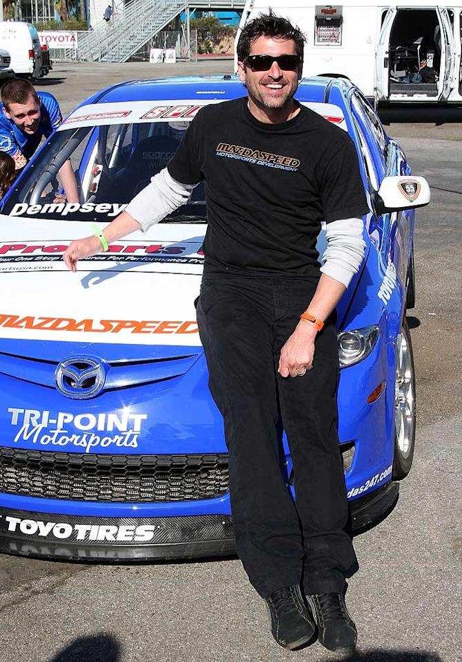 """Patrick Dempsey and other Hollywood hunks got behind the wheel while practicing for the Toyota Pro/Celebrity Race, which will take place in Long Beach, California, on April 17. """"The Demps"""" likes to race cars when he's not playing """"McDreamy."""" Frederick M. Brown/<a href=""""http://www.gettyimages.com/"""" target=""""new"""">GettyImages.com</a> - April 6, 2010"""