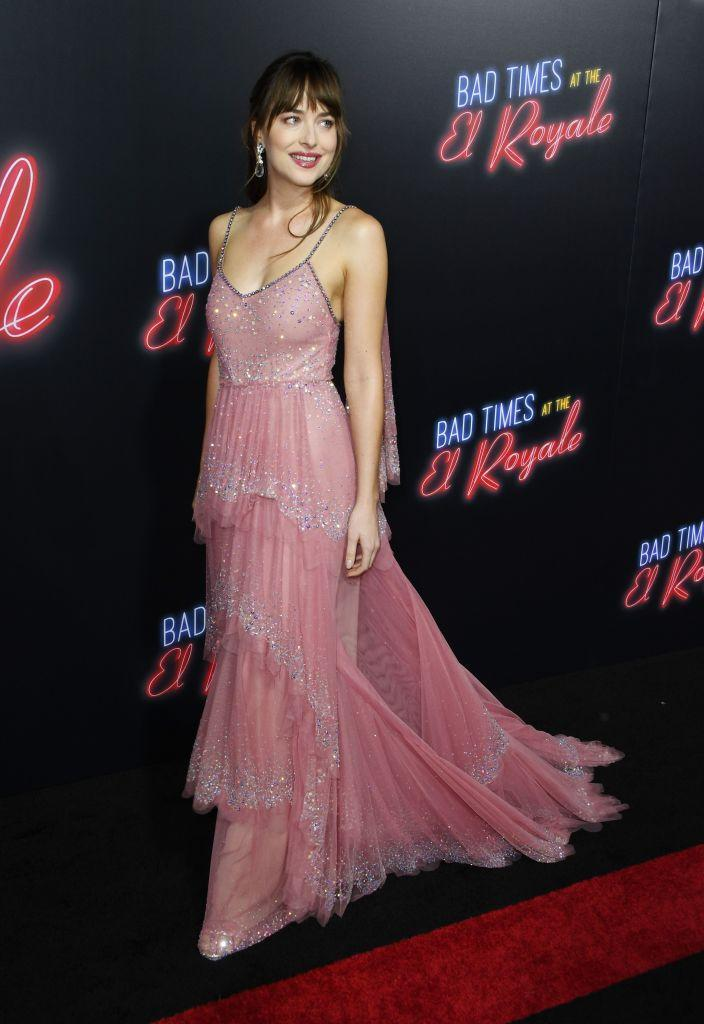 <p>On September 22, Dakota Johnson was pretty in pink for the premiere of 'Bad Times at the El Royale'. The actress chose a glitzy Gucci gown to grace the red carpet and finished the look with a lick of co-ordinating lipstick. <em>[Photo: Getty]</em> </p>