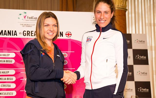 <span>Simon Halep (left) with Johanna Konta before everything turned sour</span> <span>Credit: GETTY IMAGES </span>