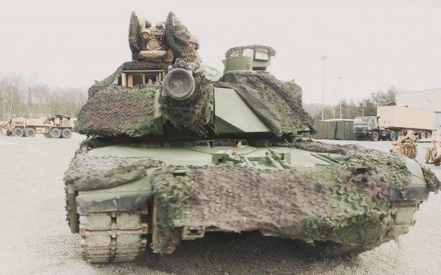 US M1 Abrams tank green camouflage