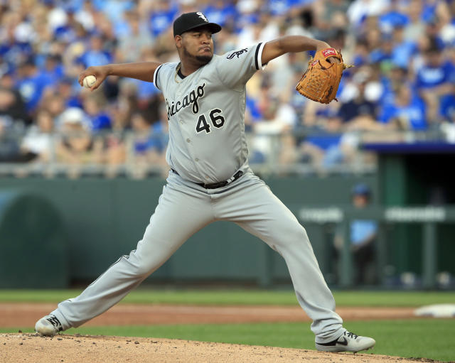 Chicago White Sox starting pitcher Ivan Nova delivers to a Kansas City Royals batter during the first inning of a baseball game at Kauffman Stadium in Kansas City, Mo., Friday, June 7, 2019. (AP Photo/Orlin Wagner)