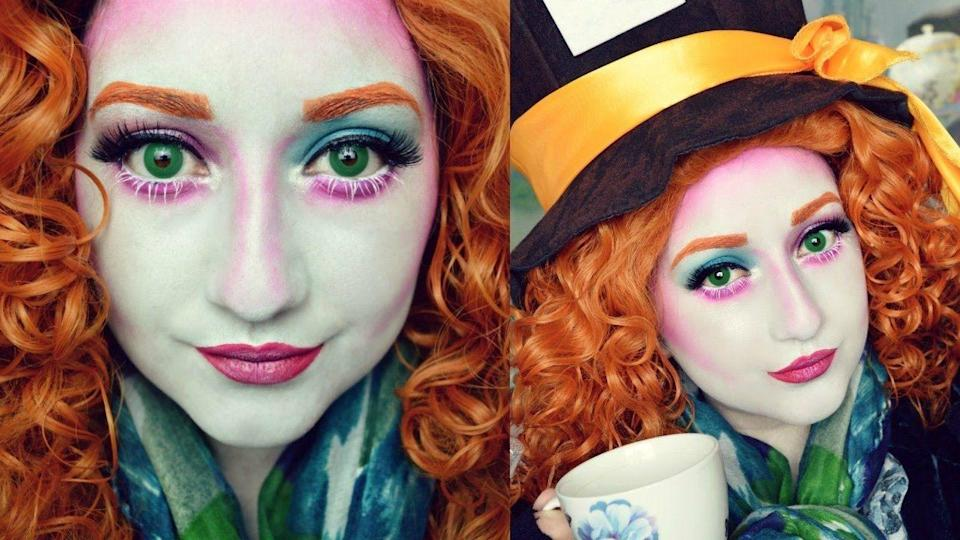 "<p>A fun and bold makeup look will take your Mad Hatter costume to the next level. </p><p><strong>Get the tutorial at <a href=""https://www.youtube.com/watch?v=sBZb02wioPw"" rel=""nofollow noopener"" target=""_blank"" data-ylk=""slk:Jessica Rose"" class=""link rapid-noclick-resp"">Jessica Rose</a>.</strong></p><p><a class=""link rapid-noclick-resp"" href=""https://www.amazon.com/Yuehong-Halloween-Costumes-Synthetic-Cosplay/dp/B01G38IYW8/ref=sr_1_7?tag=syn-yahoo-20&ascsubtag=%5Bartid%7C10050.g.29343502%5Bsrc%7Cyahoo-us"" rel=""nofollow noopener"" target=""_blank"" data-ylk=""slk:SHOP RED WIGS"">SHOP RED WIGS</a></p>"