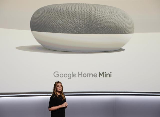 Isabelle Olsson, Google's Head of Industrial Design for Home, speaks about the Google Home Mini during a launch event in San Francisco on Oct. 4. REUTERS/Stephen Lam