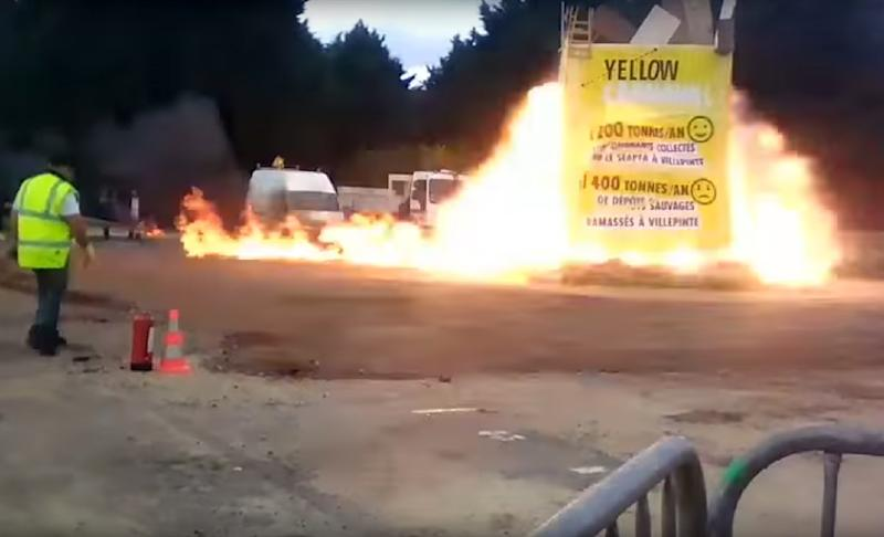 A video grab made from a handout video obtained by AFPTV on April 1, 2017 shows an explosion during a carnival, injuring at least 18 people, in Villepinte, north of Paris