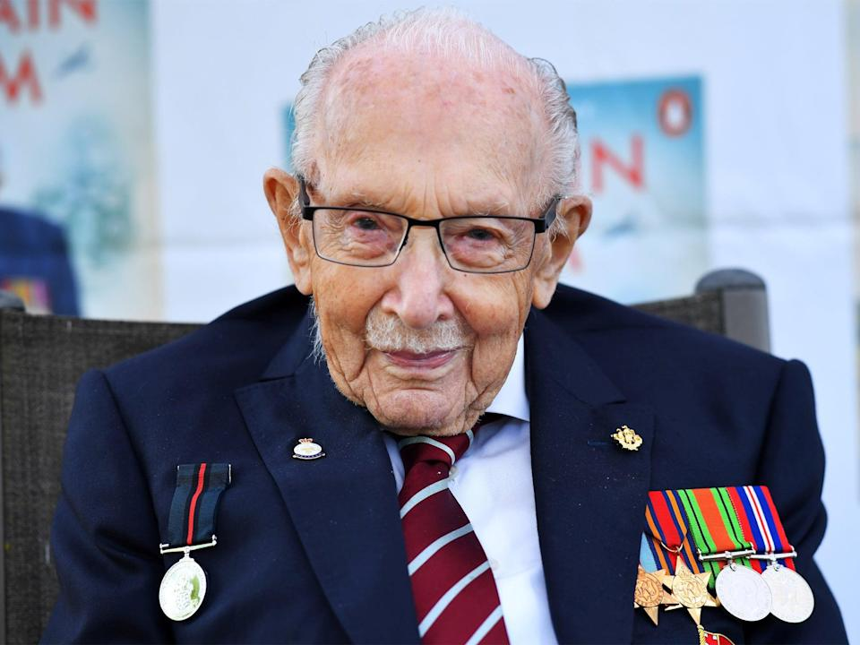 <p>The fundraiser walked 100 lengths of his garden before his 100th birthday</p> (Reuters)
