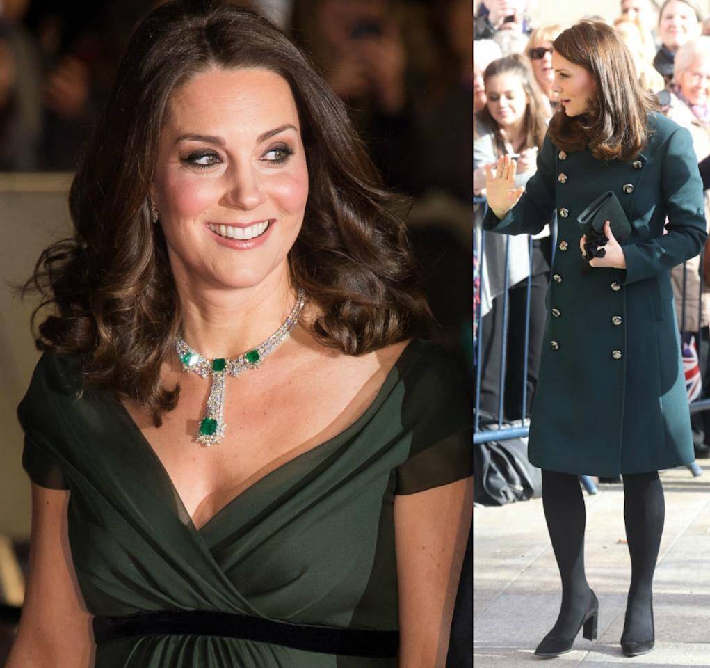 <p><strong>When: Feb. 2018</strong><br />Gorgeous, right? (Photo left: Kate stuns in hunter green Jenny Packham gown at Baftas on Sunday, and (right) green, double-breasted Dolce and Gabbana coat in Sunderland, England, on Wednesday. <em>(Photos: Getty)</em> </p>
