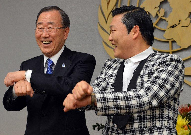 Psy (right) does his 'Gangnam Style' dance with UN Secretary General Ban Ki-Moon at UN headquarters in New York. Name-checked and imitated by everyone from US President Barack Obama, to Chinese dissident artist Ai Weiwei and pop icon Madonna, Psy bestrode his invisible horse and the music world like a colossus in 2012