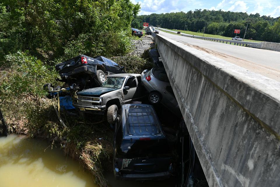 A view of the damage after heavy rain and devastating floods in Waverly, Tennessee, United States.