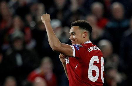FILE PHOTO: Liverpool, Britain - April 24, 2018 Liverpool's Trent Alexander-Arnold celebrates after a teammate scores. REUTERS/Phil Noble//File Photo