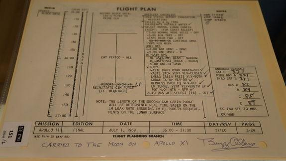 Bonhams Auction House sold more than 300 space artifacts on March 25, 2013. Pieces from the Apollo missions (including 13 and 11) were sold, as well as other items from the space program's history, including a flight plan from the Apollo 11 moo
