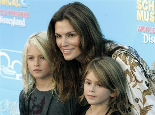"Cindy Crawford and son Presley and daughter Kaya at the premiere of ""High School Musical 2"" in Anaheim, August 14, 2007."