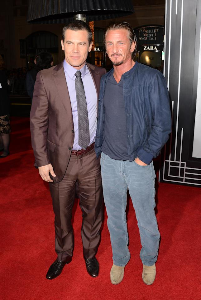 HOLLYWOOD, CA - JANUARY 07:  Actors Josh Brolin and Sean Penn arrive at Warner Bros. Pictures' 'Gangster Squad' premiere at Grauman's Chinese Theatre on January 7, 2013 in Hollywood, California.  (Photo by Jason Merritt/Getty Images)