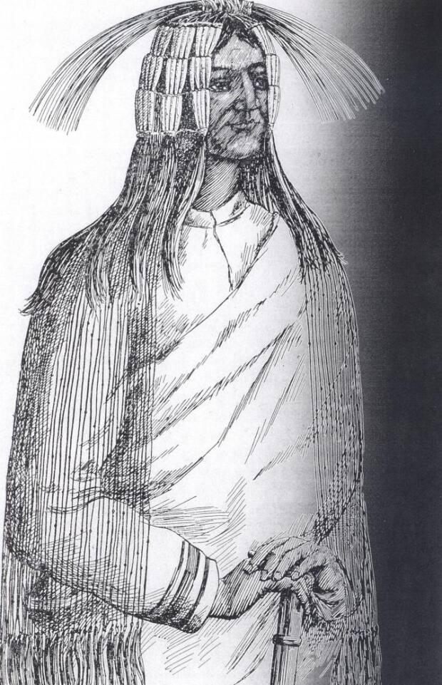 A drawing of a traditional Maiyoo Keyoh headdress by Father Adrien Morice, in the late 19th century. (Photo courtesy of the Maiyoo Keyoh. - image credit)