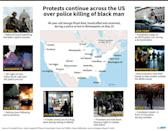 Map of the US with photos showing violent protests on May 29-31 over the death of a handcuffed and unarmed black man, George Floyd, during a police arrest on May 25