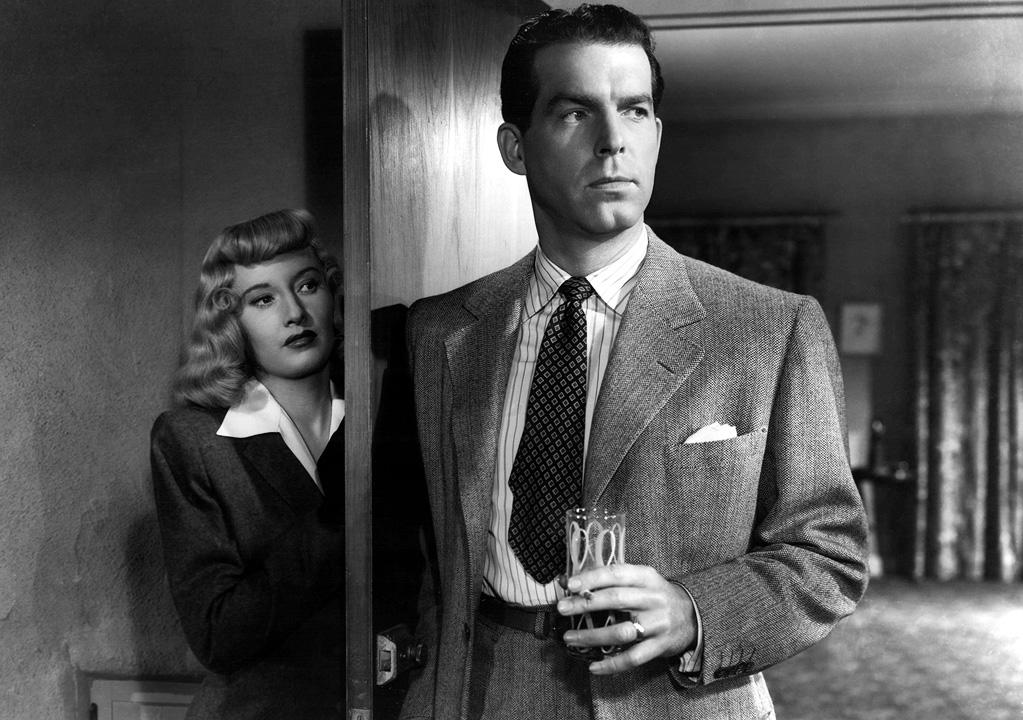 """<a href=""""http://movies.yahoo.com/movie/double-indemnity/"""">DOUBLE INDEMNITY</a> (1944) <br>Directed by: <span>Billy Wilder</span> <br>Starring: <span>Fred MacMurray</span>, <span>Barbara Stanwyck</span> and <span>Edward G. Robinson</span>"""
