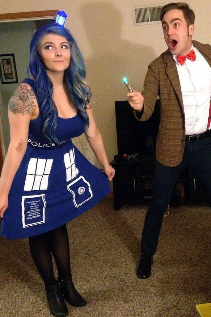"""<p>Couples who time travel together stay together. And if you're feeling extra daring, pair this geeky costume with blue hair to make your look really stand out.<br></p><p><a class=""""link rapid-noclick-resp"""" href=""""https://www.amazon.com/elope-404820-Dr-TARDIS-Dress/dp/B00DJ48VM8/?tag=syn-yahoo-20&ascsubtag=%5Bartid%7C10055.g.2625%5Bsrc%7Cyahoo-us"""" rel=""""nofollow noopener"""" target=""""_blank"""" data-ylk=""""slk:SHOP TARDIS DRESS"""">SHOP TARDIS DRESS</a></p><p><a class=""""link rapid-noclick-resp"""" href=""""https://www.amazon.com/Doctor-Mens-Jacket-Small-Medium/dp/B00DRK6EQE/?tag=syn-yahoo-20&ascsubtag=%5Bartid%7C10055.g.2625%5Bsrc%7Cyahoo-us"""" rel=""""nofollow noopener"""" target=""""_blank"""" data-ylk=""""slk:SHOP SUIT JACKET"""">SHOP SUIT JACKET</a> </p>"""