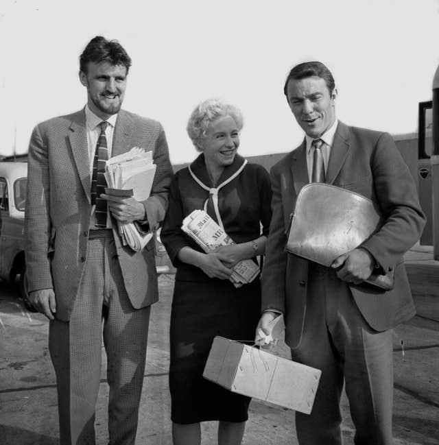 Jimmy Greaves at London Airport with his wife Irene and PFA chairman Jimmy Hill ahead of his move to AC Milan