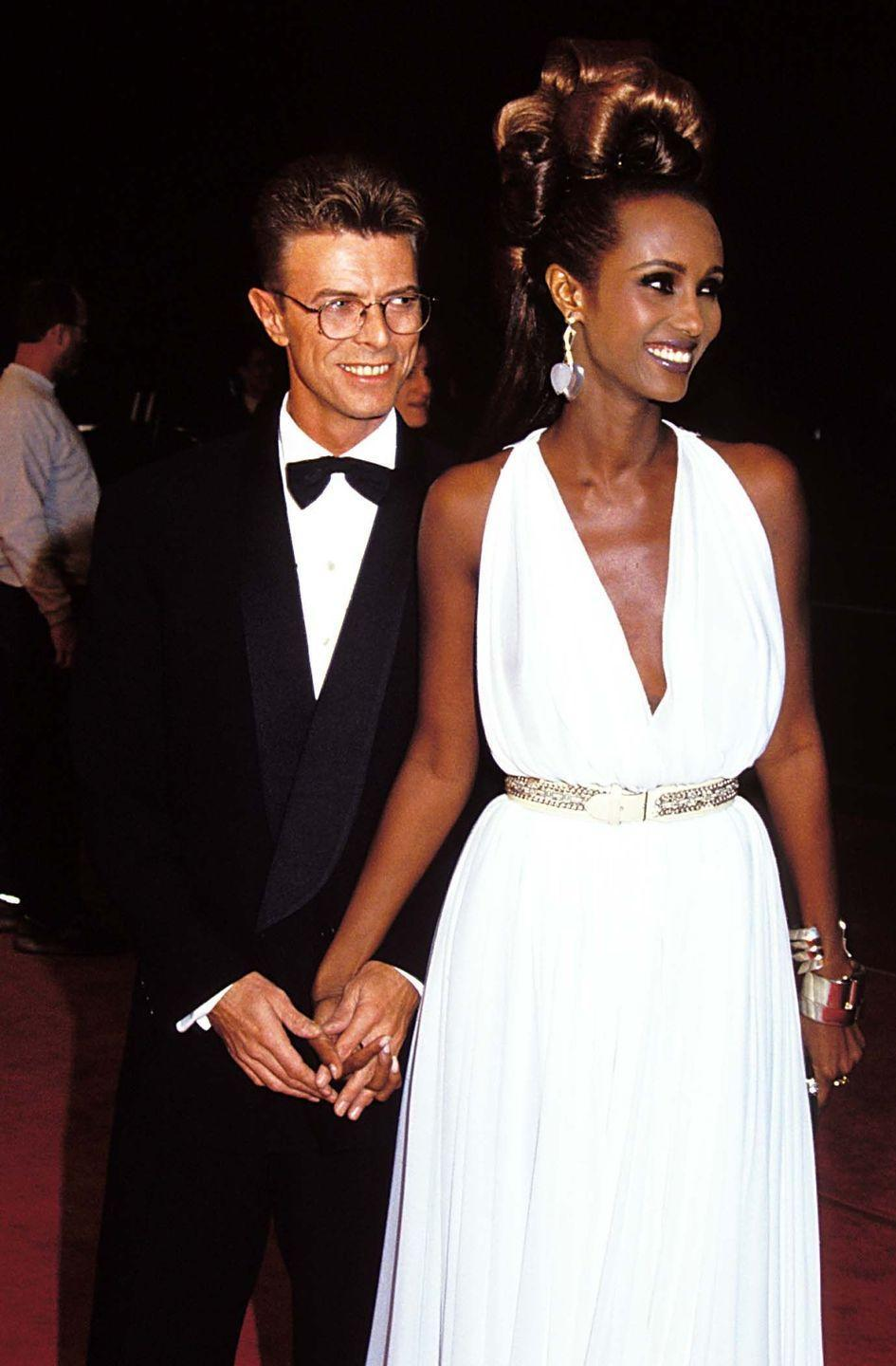 """<p>Rocker David Bowie and Iman <a href=""""http://diffuser.fm/david-bowie-iman/"""" rel=""""nofollow noopener"""" target=""""_blank"""" data-ylk=""""slk:married"""" class=""""link rapid-noclick-resp"""">married</a> on April 24, 1992, with only three people in attendance. The couple wed in a civil ceremony in Switzerland. They remained married until Bowie's death in January 2016 and have one daughter together, Alexandria Jones. </p>"""