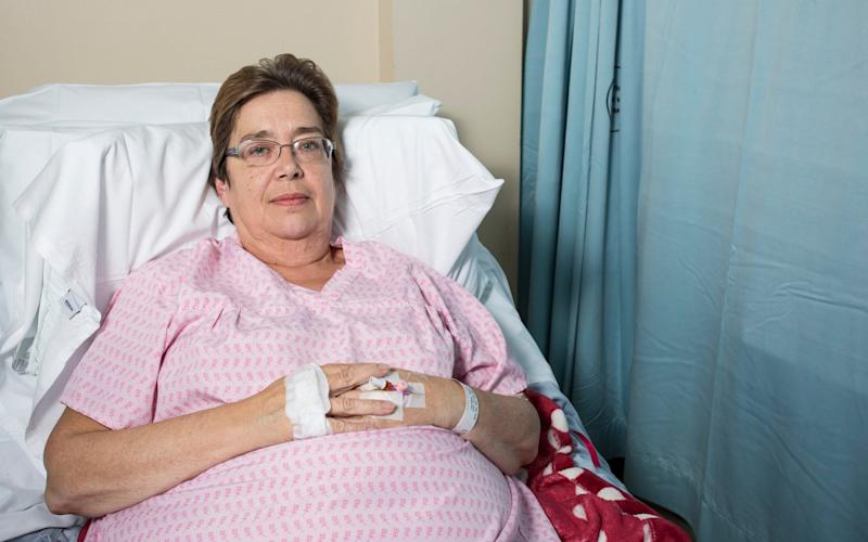 Marie Yates in the Walsall Manor Hospital recovering after the pig attack. - Caters News Agency