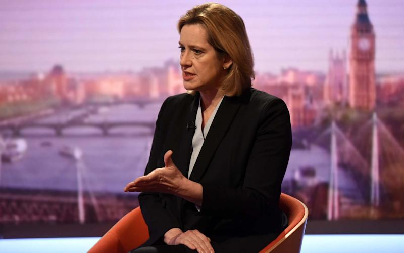 Amber Rudd refused to rule out a total laptop ban when she appeared on the BBC's Andrew Marr show - REUTERS