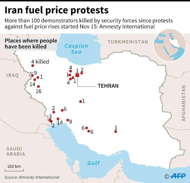 Map of Iran locating places where a combined total of more than 100 demonstrators were believed to have been killed since security forces were ordered to 'crush' protests, according to a report by Amnesty International (AFP Photo/)