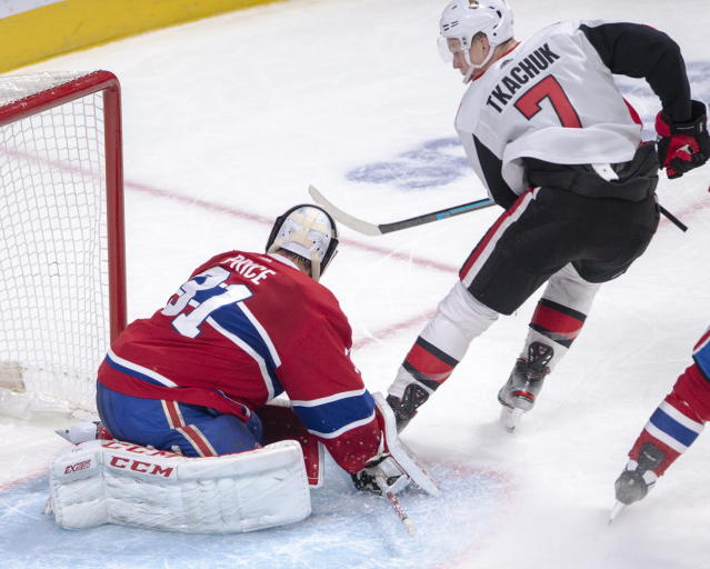 Ottawa Senators left wing Brady Tkachuk (7) scores the winning goal against Montreal Canadiens goaltender Carey Price (31) during overtime NHL hockey action in Montreal, Wednesday, Nov. 20, 2019. (Ryan Remiorz/The Canadian Press via AP)