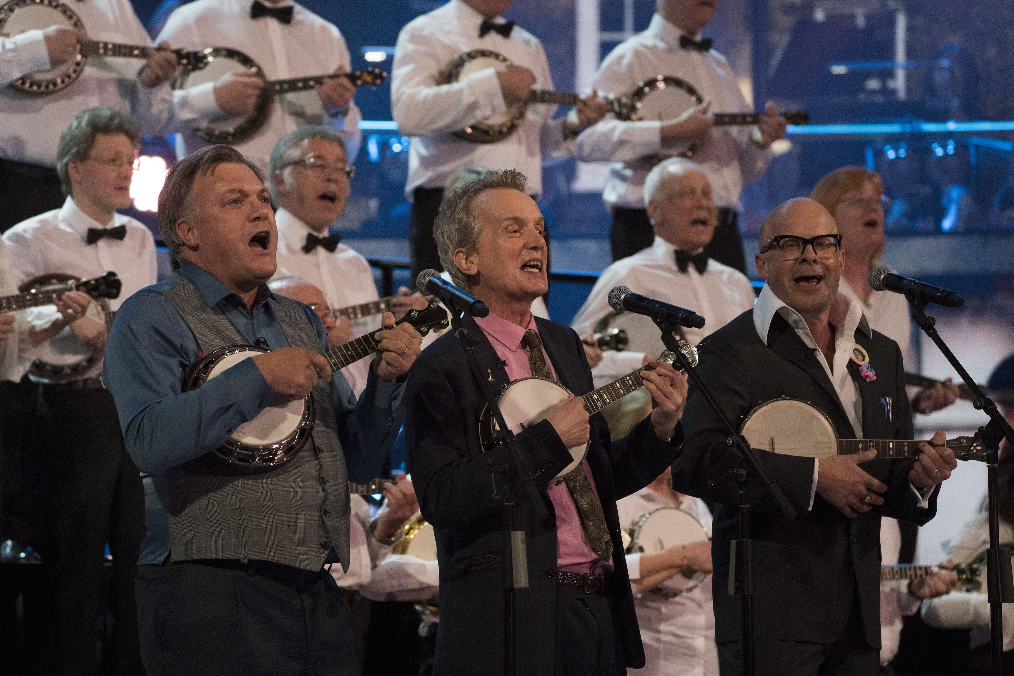 Ed Balls, Frank Skinner and Harry Hill perform for the Queen (Picture: PA)