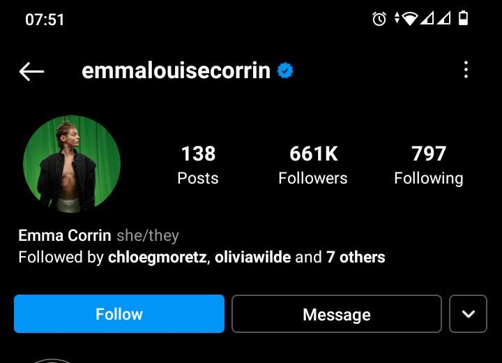 Emma Corrin has changed their pronouns to she/they. (Instagram)