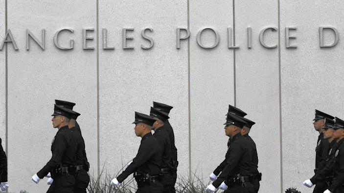 L.A. Mayor Eric Garcetti said in his State of the City address that he would be shifting 200 officers from elsewhere in the Police Department to its Metropolitan Division, a group that fights crime in different areas of the city. Above, at LAPD headquarters.