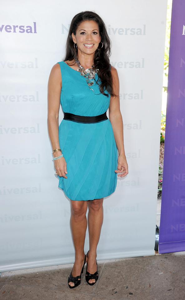 "Dina Eastwood (""<a href=""http://tv.yahoo.com/mrs-eastwood-co/show/48387"">Mrs. Eastwood & Company</a>"") arrives at NBC Universal's 2012 Summer Press Day at The Langham  Huntington Hotel and Spa on April 18, 2012 in Pasadena, California."