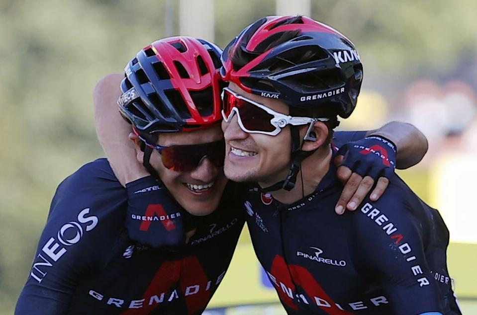 Michal Kwiatkowski R of Ineos Grenadiers and Richard Carapaz of Ineos Grenadiers celebrate after winning the stage 18 of the 107th edition of the Tour de France cycling race from Meribel to LaRochesurForon 175 km in France Thursday 17 September 2020 This years Tour de France was postponed due to the worldwide Covid19 pandemic The 2020 race starts in Nice on Saturday 29 August and ends on 20 September BELGA PHOTO POOL Photo by POOLBELGA MAGAFP via Getty Images