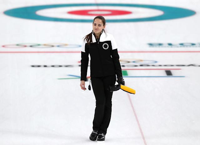 <p>Anastasia Bryzgalova of Olympic Athletes from Russia calls a command against Norway during the Curling Mixed Doubles Bronze Medal Game on day four of the PyeongChang 2018 Winter Olympic Games at Gangneung Curling Centre on February 13, 2018 in Gangneung, South Korea. (Photo by Ronald Martinez/Getty Images) </p>