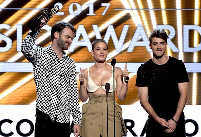 <p>(L-R) Alex Pall of The Chainsmokers, Halsey, and Andrew Taggart of The Chainsmokers accept Top Collaboration for 'Closer' onstage during the 2017 Billboard Music Awards at T-Mobile Arena on May 21, 2017 in Las Vegas, Nevada. (Photo by Ethan Miller/Getty Images) </p>