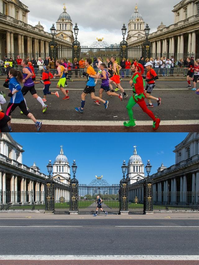 Scenes outside the Old Royal Naval College in Greenwich