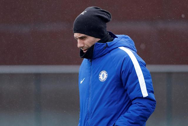 Soccer Football - Champions League - Chelsea Training - Cobham Training Ground, London, Britain - February 19, 2018 Chelsea manager Antonio Conte during training Action Images via Reuters/Matthew Childs